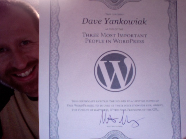 Certificate from WordPress Founder Matt Mullenweg